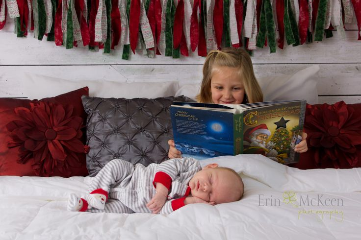 Newborn with Sibling Photography Christmas Newborn Photography Night Before Christmas Erin McKeen Photography www.ErinMcKeenPhotography.com De Pere, Wisconsin