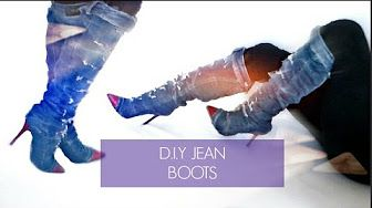 DIY DENIM BOOTS - DIY JEAN BOOTS - YouTube