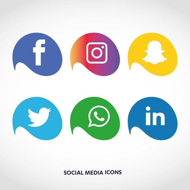 Social Media Icons Set Logo Vector Illustrator, Social