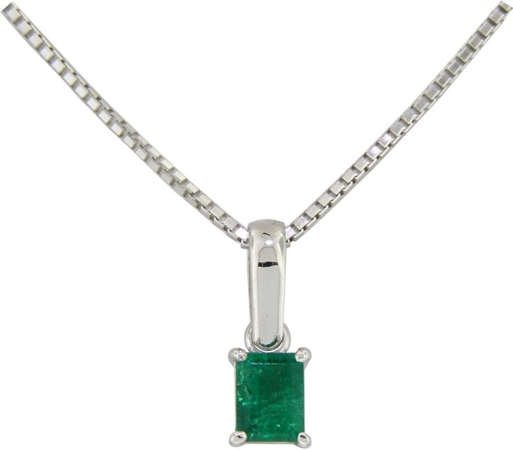 18K white gold classic solitaire emerald pendant necklace with very dark green color 0.25 Ct. emerald cut natural emerald.