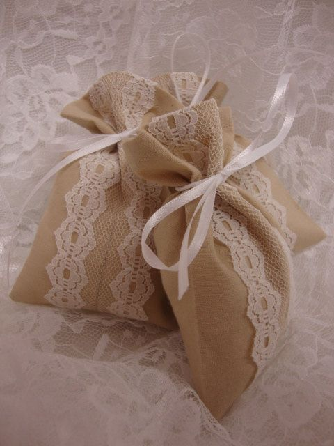 Diminutive Muslin & Lace Wedding Favor / Party by RedLetterDayBags, $2.00