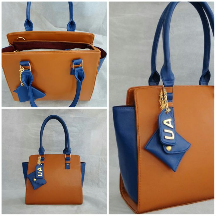 Our Compact Sideways Tote customized in Dark Tan body, Denim Blue sides & handle with Gold metalwork, Dark Tan inside lining & a Hanging Tag monogram. :) See more at: http://www.toteteca.com #customize #baglove #monogrammed