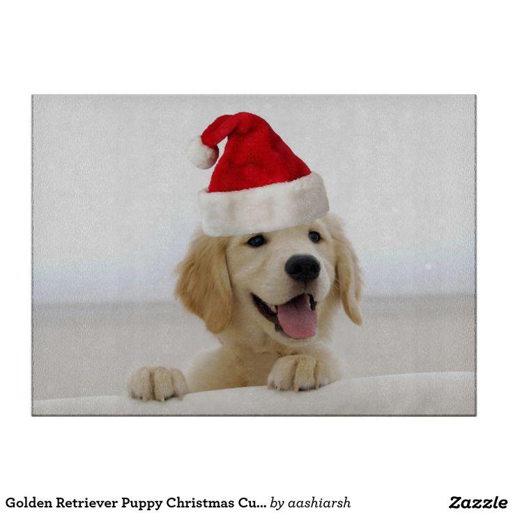 Golden Retriever #Puppy #Christmas #Cutting Board