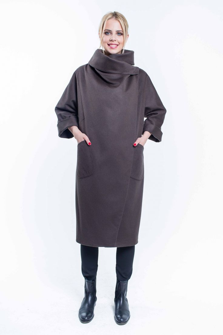 Женское пальто оверсайз с каскадной драпировкой SUCCESS 459 - NEW Коллекция пальто осень-зима 2015-16 - Success