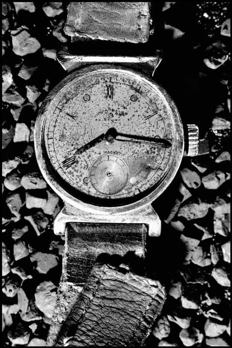 A watch belonging to one of the bombing victims stopped at 8:15, the exact moment of the explosion on Hiroshima, Japan,  August 6, 1945