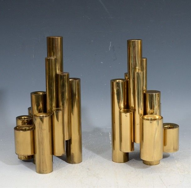 Gio Ponti. Brass Candle Holders, 1960s.