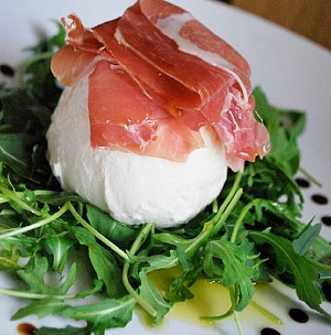 Mozzarella di Bufala with Prosciutto and Arugula