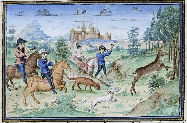 Master of Girart de Roussillon, 'The Book of King Modus and Queen Ratio' (after 1455). Treatise on hunting in Royal Library of Belgium, bound with 'The Dream of pestilence'. KBR - Cabinet des Manuscrits, ms. 10218-19.