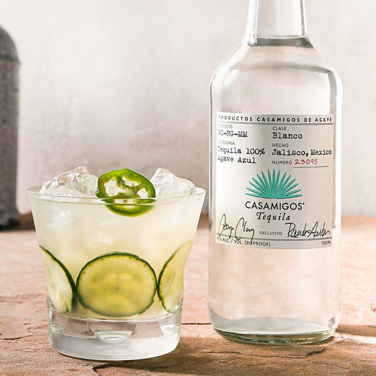 SPICY CUCUMBER JALAPEÑO MARGARITA 2 oz. Casamigos Blanco Tequila 1 oz. Fresh Lime Juice 1/2 oz. Sugarcane Syrup 2 Cucumber Slices 1 Jalapeño Slice Combine all ingredients into tin shaker. Muddle fruit / herbs. Add ice. Shake vigorously for 8-10 seconds. Fine strain into rocks glass. Add fresh ice. Garnish with cucumber and jalapeño slices.