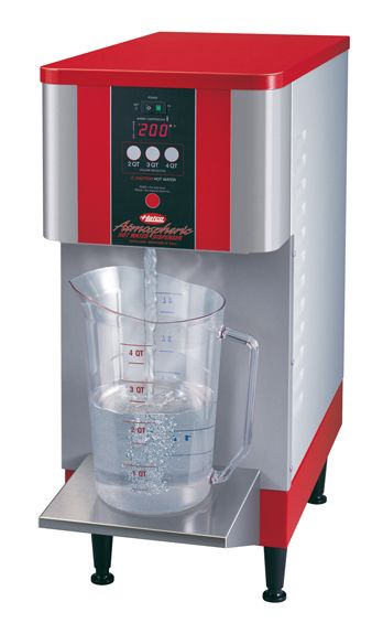 The Atmospheric Hot Water Dispenser (AWD Series) from Hatco delivers pre-measured quantities of up to 8 gallons (30 liters) of continuous hot water at the simple push of a button, making it a great hot water machine for food preparation or cleaning.