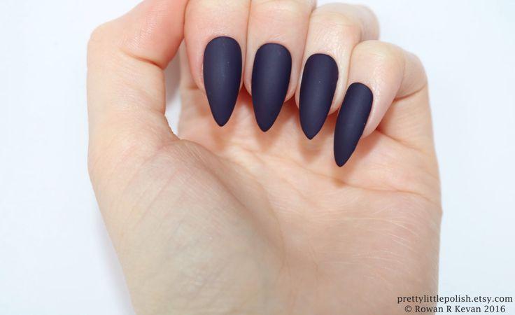 Matte dark purple stiletto nails, Fake nail, Stiletto nail, Kylie jenner, Press on nail, Acrylic nail, Fake nail stiletto by prettylittlepolish on Etsy https://www.etsy.com/listing/456360018/matte-dark-purple-stiletto-nails-fake
