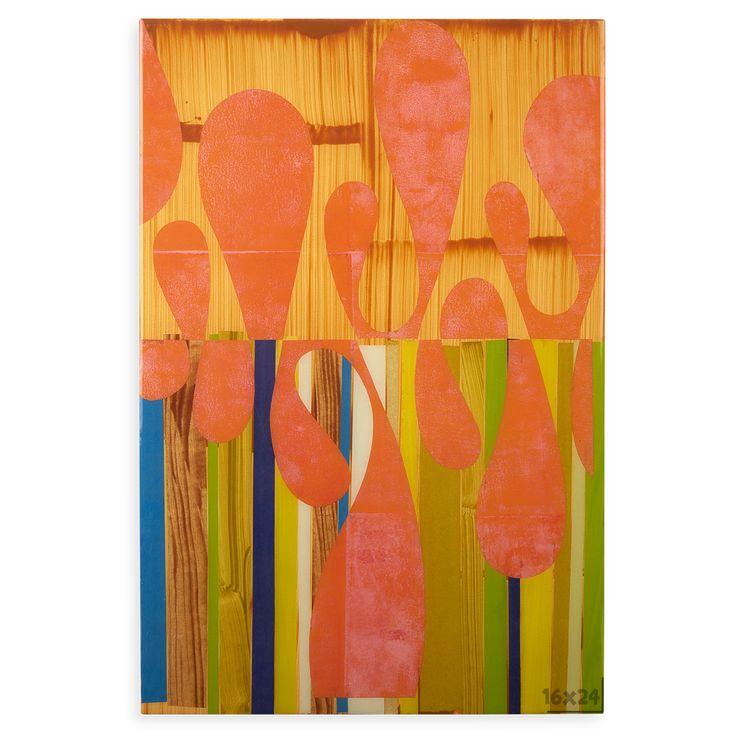 All art rex ray 16 x 24 artwork original orange mixed media collage · jonathan adlermodern wall