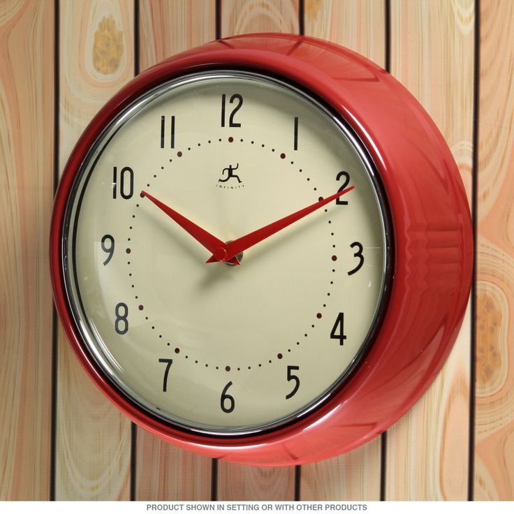 Retro Electric Kitchen Wall Clocks: Red Fifties-Style Kitchen Wall Clock_D