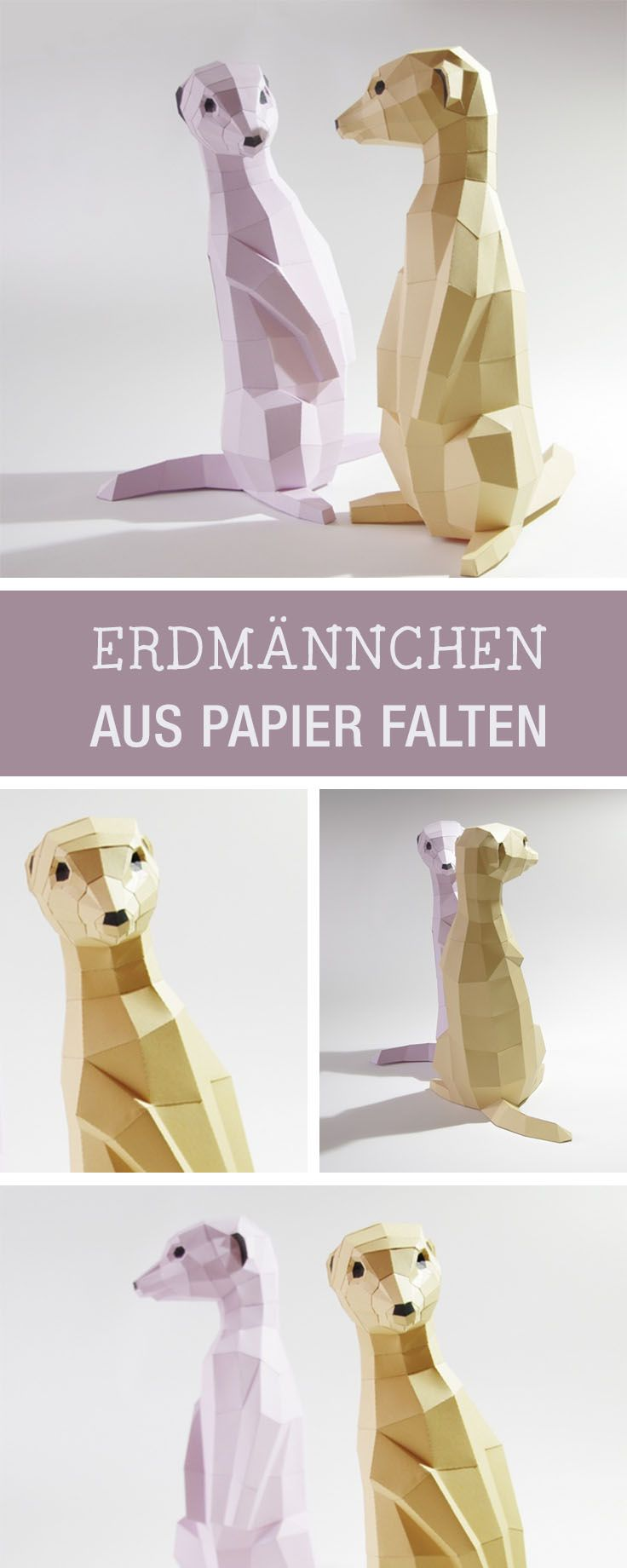 Anleitung für Erdmännchen im Origami-Stil gefaltet / diy tutorial for origami folded paper animals via DaWanda.com