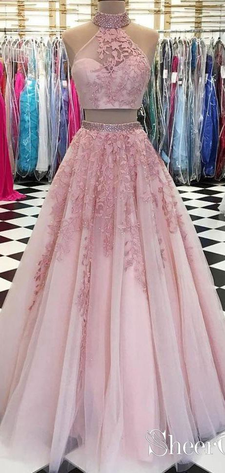 Lace Appliquéd Two Piece Prom Dresses Long Cheap Halter Ball Gowns APD3165 2