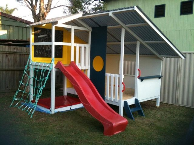 Cubby House Accessories   Kids Play Houses   Cubbies - cargo net & slide