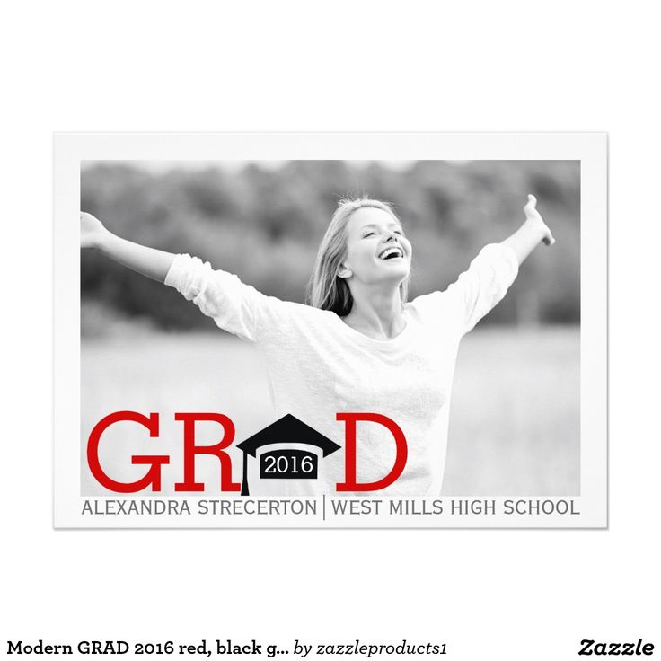 Modern GRAD 2016 red, black #graduation photo #Invitation