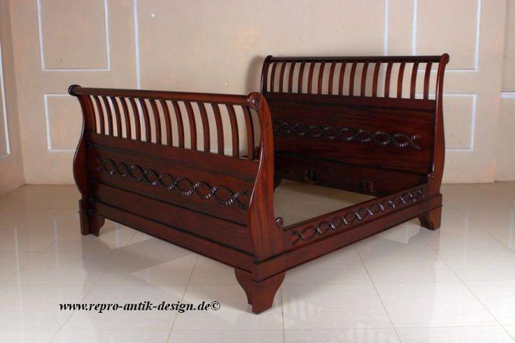 Schlittenbett Antik Mahagoni Massivholz Bett 200 x 200 Doppelbett Kolonialstil in Möbel & Wohnen, Möbel, Betten & Wasserbetten | eBay