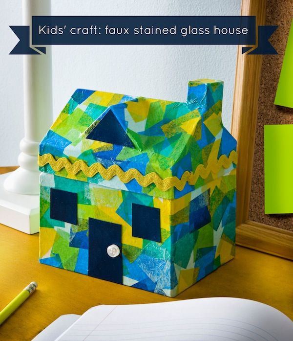 Ordinary House Craft Ideas For Kids Part - 10: Easy Kids Craft Faux Stained Glass House