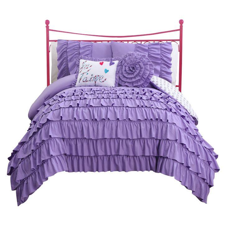 Bronx Blue Bedroom Project: Girls Purple Ruffle Bedding