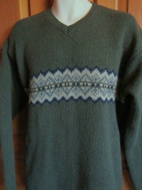 Abercrombie Ski Sweater Mens Large Wool Blend Nordic Olive Green  #AbercrombieFitch #skisweaters