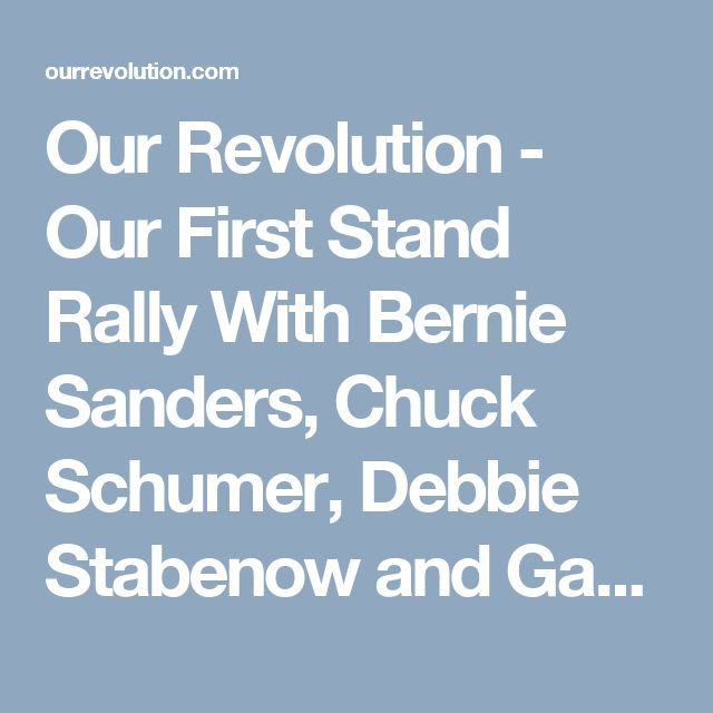 Our Revolution - Our First Stand Rally With Bernie Sanders, Chuck Schumer, Debbie Stabenow and Gary Peters