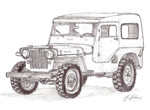 1948 Jeep CJ 2A With Hardtop For The Coloring Book