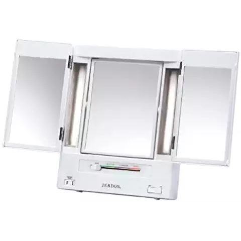 Jerdon Tri Fold Two Sided Lighted Makeup Mirror With 5x Magnification,  White Finish