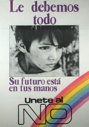 Le debemos todo. Campaña del NO, plebiscito de 1988 (Fuente: http://econtent.unm.edu/cdm/singleitem/collection/LAPolPoster/id/3838/rec/205)