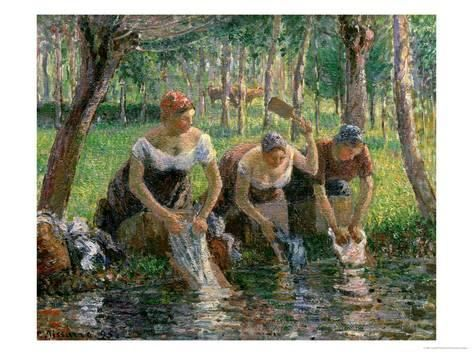 Les Lavandieres, the Washerwomen, 1895 Giclee Print by Camille Pissarro at AllPosters.com
