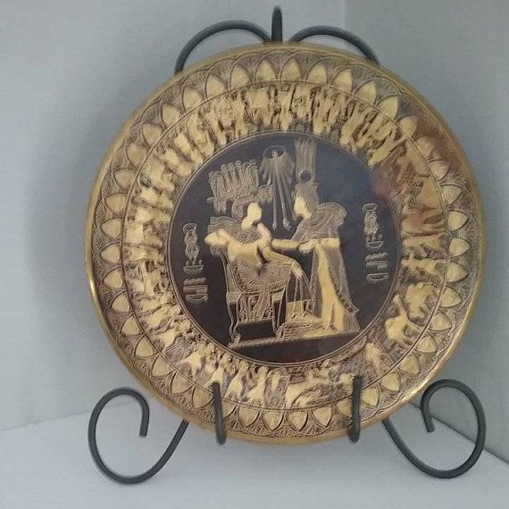 Egyptian Gold and Black Hand Engraved Plate Egyptian Brass