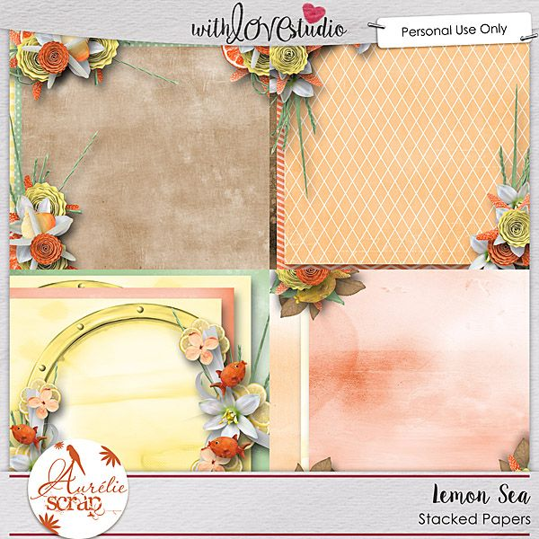 Lemon Sea digital scrapbooking stacked papers from Aurelie Scraps. This pack coordinates with the June 2016 Lovely Colors at With love Studio. You can mix and match this with all the other Lovely Color Packs to create gorgeous digital and hybrid scrapbooking layouts.