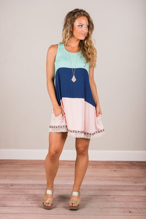 """Vivid Dreams Dress, Mint-Navy"""