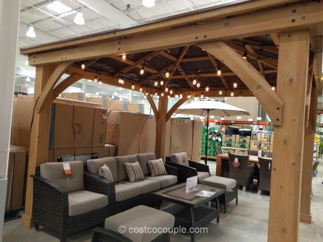 Yardistry Wood Gazebo With Aluminum Roof Costco Wood Pergola Patio Outdoor Pergola Building A Pergola