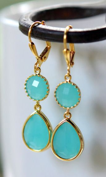 Turquoise Teal Teardrop Bridesmaids Dangle Earrings