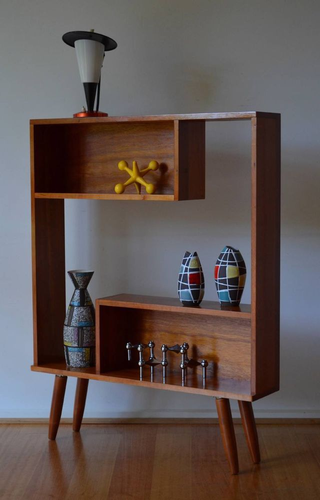retro mid century solid Tasmanian myrtle timber shadow box bookshelf / shelf