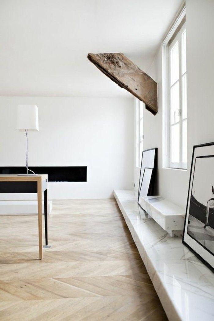sol en parquet clair, parquet massif chene couleur clair, idee amenagement salon minimaliste