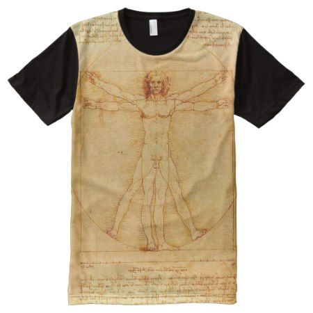 Leonardo da Vinci Vitruvian Man drawing All-Over-Print T-Shirt - tap, personalize, buy right now!