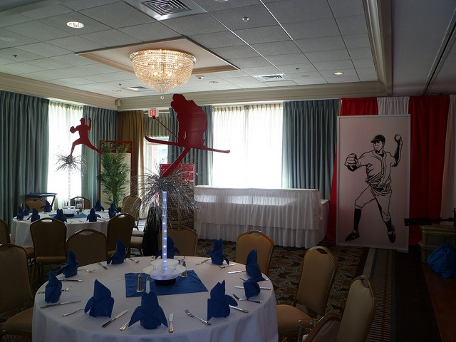 Lightup sports theme centerpieces and wall draping for a sports theme party near Boston MA by The Prop Factory, via Flickr