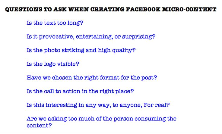 The guidelines for micro-content on FB according to author Gary Vaynerchuk