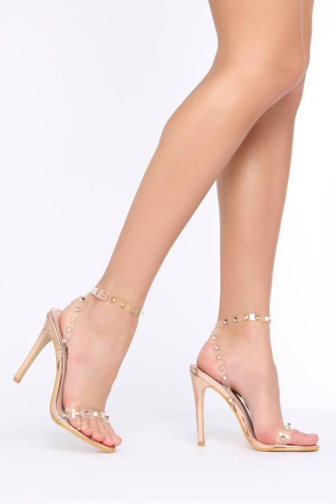 314800c5f2 Rose Gold Clear Strap Studded Strappy Heel | Clothes I must have ...