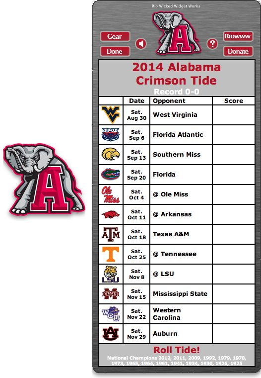 Free 2014 Alabama Crimson Tide Football Schedule Widget - Roll Tide! - National Champions 2012, 2011, 2009, 1992, 1979, 1978, 1973, 1965, 1961, 1941, 1934, 1930, 1926, 1925   http://riowww.com/teamPages/Alabama_Crimson_Tide.htm