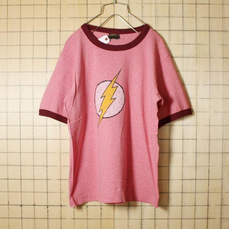 USA製 古着 杢 レッド プリント Tシャツ 半袖 DCコミック ヒーロー フラッシュ イナズマ メンズM Change's アメリカ古着