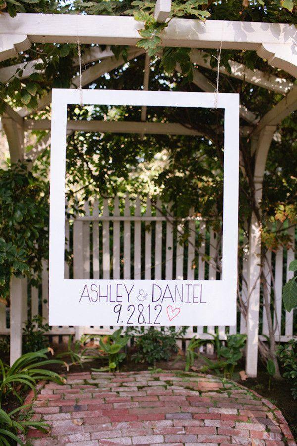 Polaroid photo booth backdrop for rustic wedding ceremony ideas #elegantweddinginvites #weddingdecoration