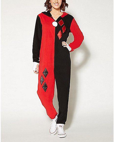 Harley Quinn Dropseat Hoodie Footie Onesie Pajamas - Spencer's
