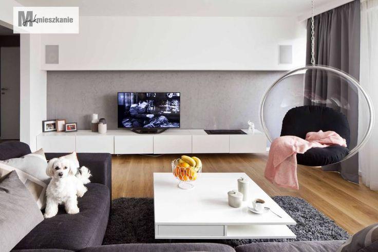 Aranżacja salonu w bloku w stylu nowoczesnym zobacz na myhome.pl