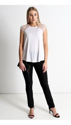 Lace Detail Jersey Top White