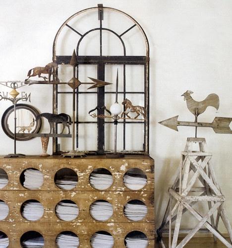 Window frame & collection of weather vanes - sandykoepkeinteriordesign.com
