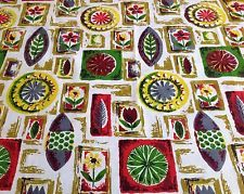 Cool VTG retro 50s 60s fabric material abstract floral & leaf mid century design