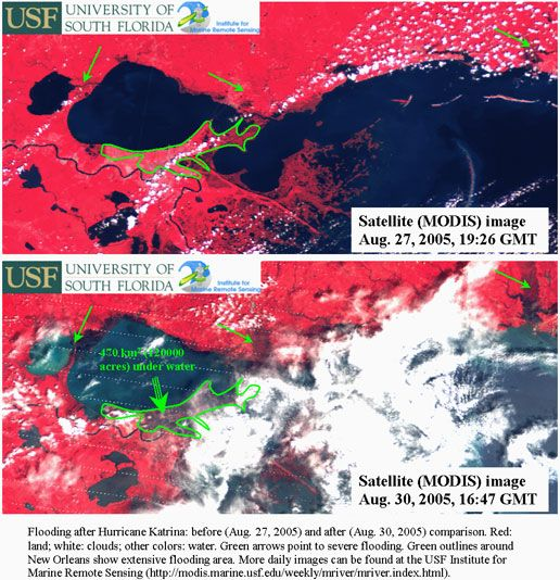 """Before and after photos of Hurricane Katrina flooding - includes all areas around Lakes Pontchartrain and Lake Maurepas.  """"The first image shows the same area before Katrina hit, showing red throughout New Orleans. The second image was captured on August 31, 2005, showing large areas of New Orleans and the adjacent Gulf Coast inundated with water."""""""